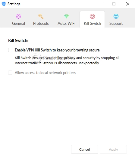 The kill switch settings section of SaferVPN