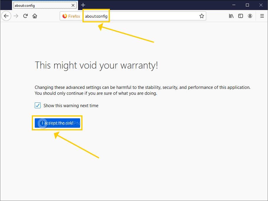 """Firefox shows the """"This might void your warranty message"""""""
