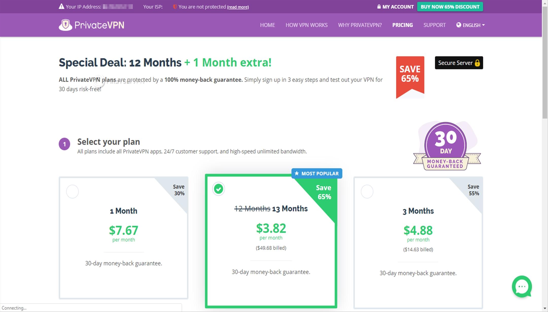 Choosing price plans PrivateVPN