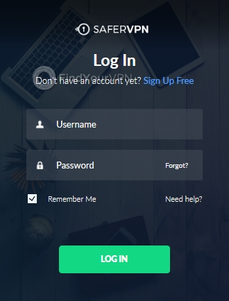 Login screen of SaferVPN