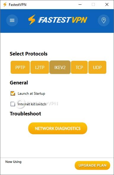 FastestVPN's settings section