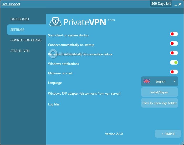 PrivateVPN's settings section