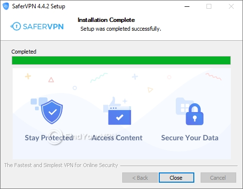 The completion screen of SaferVPN