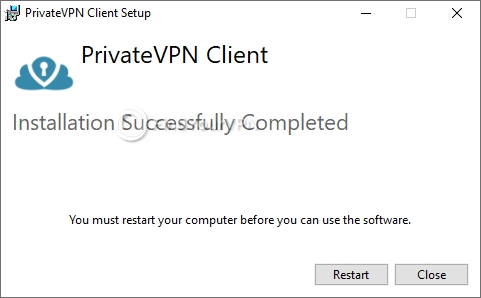 The setup confirmation screen for PrivateVPN