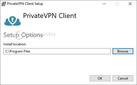 Customize the destination path for PrivateVPN