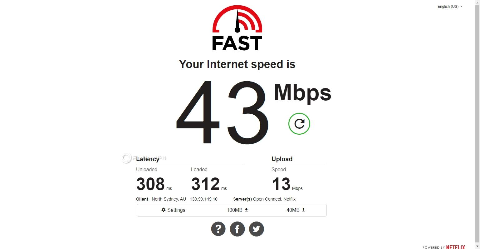 FastestVPN's Australia speed results