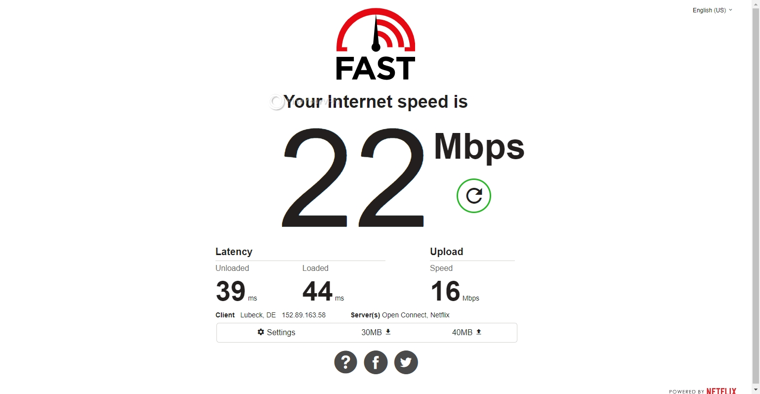 FastestVPN's Germany speed results