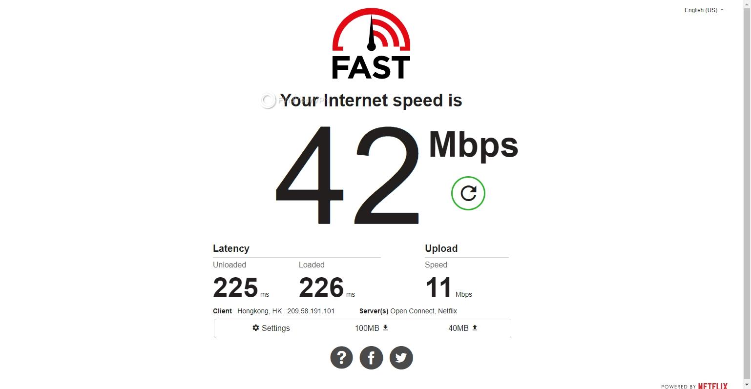 FastestVPN's Hong Kong results