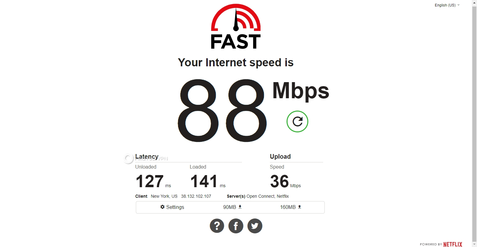 FastestVPN's USA speed results