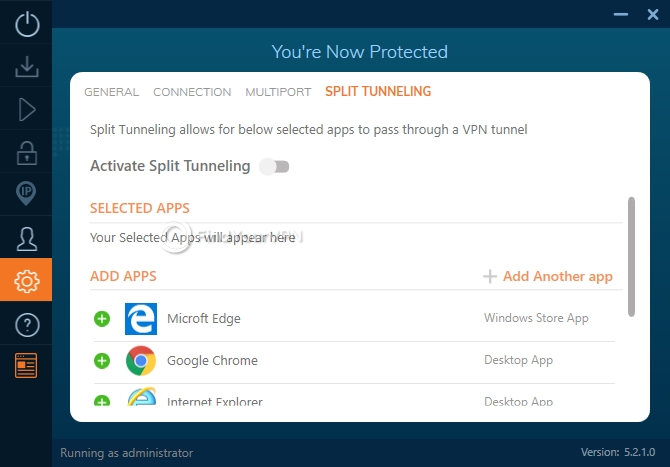 Split tunneling settings for Ivacy