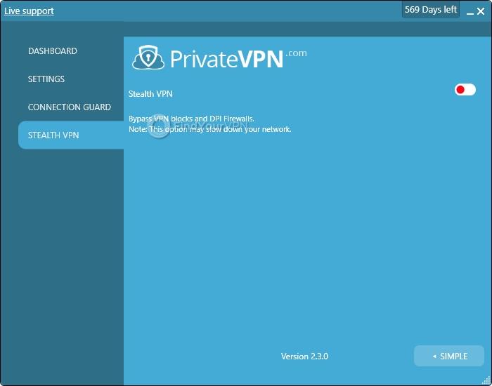 PrivateVPN's Stealth VPN section