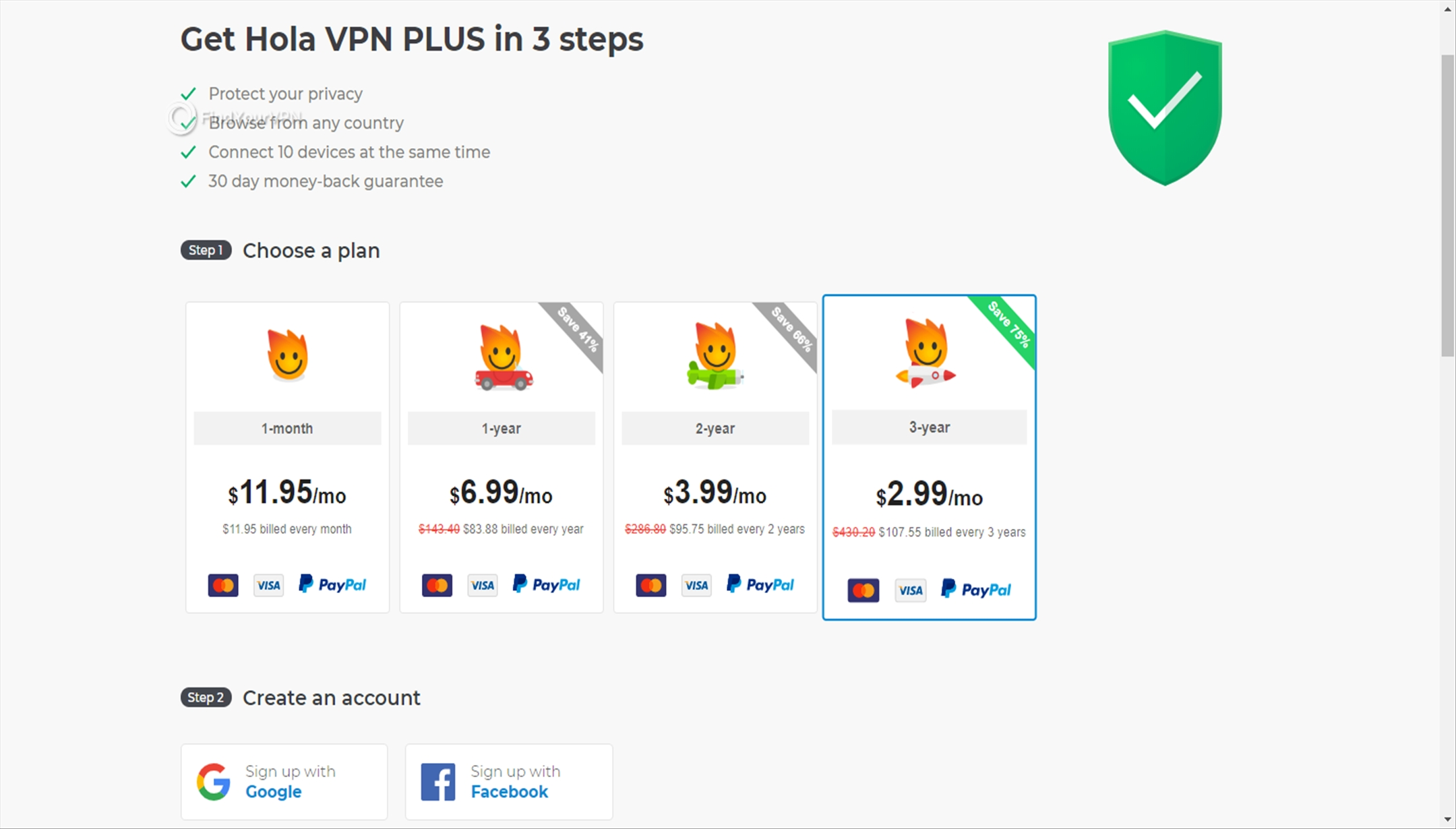 Choosing a subscription plan for Hola VPN