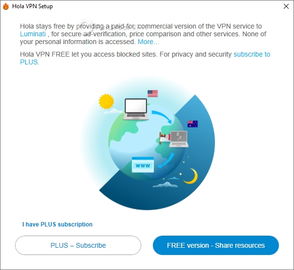 You have to choose from three options when installing Hola VPN