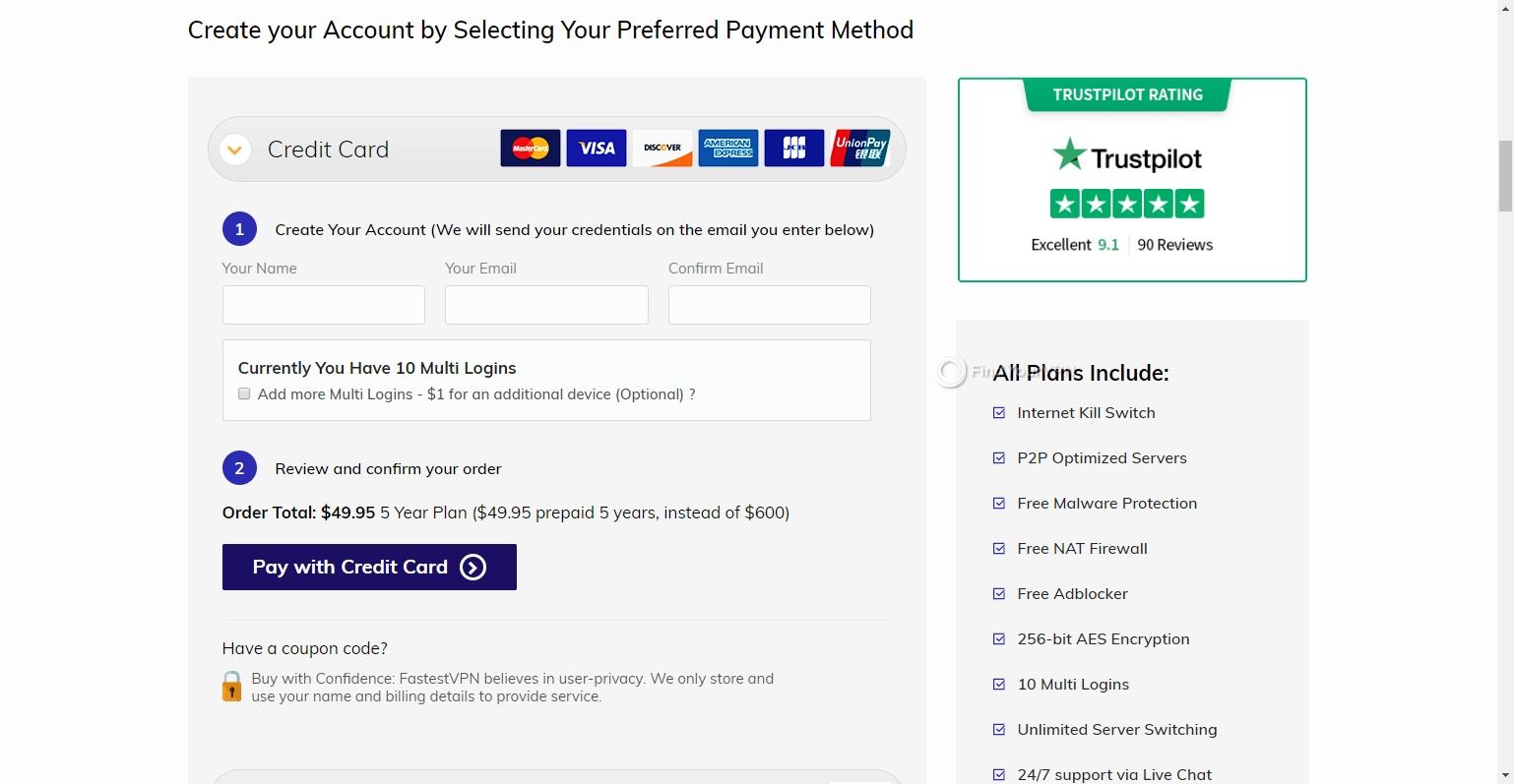 Credentials and payment info FastestVPN
