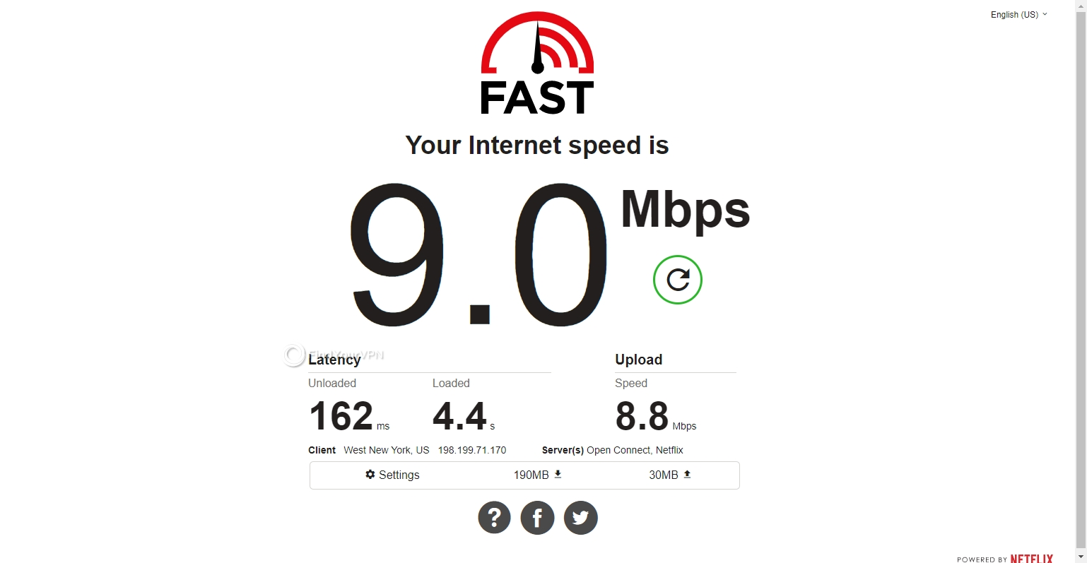 Speed results for Hola VPN's USA server