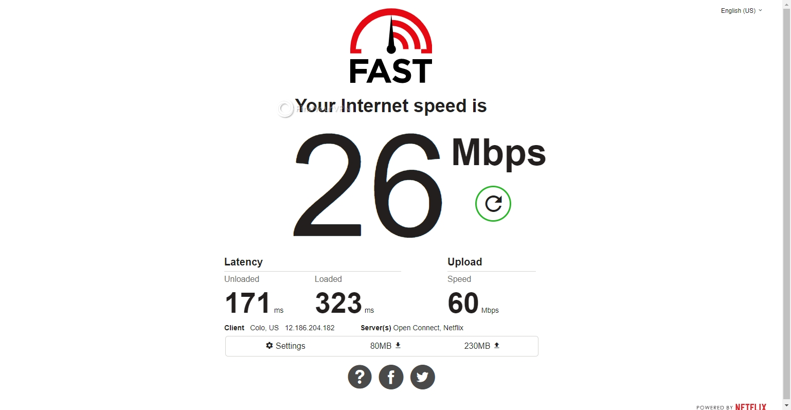 The USA speed results for SaferVPN