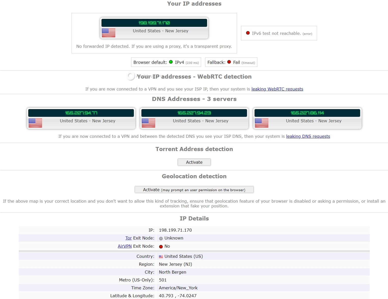 The Hola VPN ipleak results