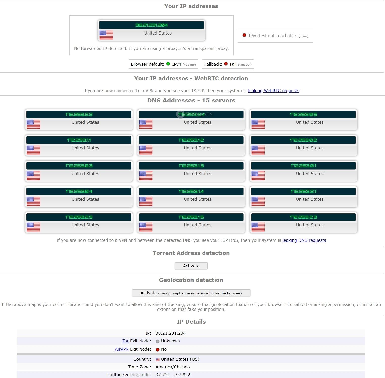RitaVPN's ipleak results