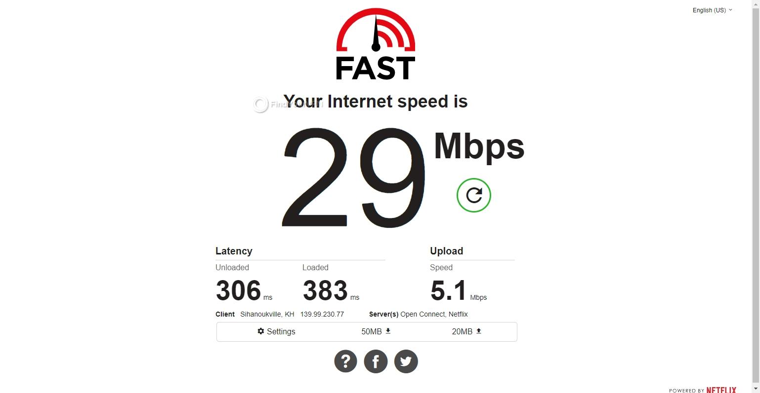 Speed test CyberGhost VPN Australia
