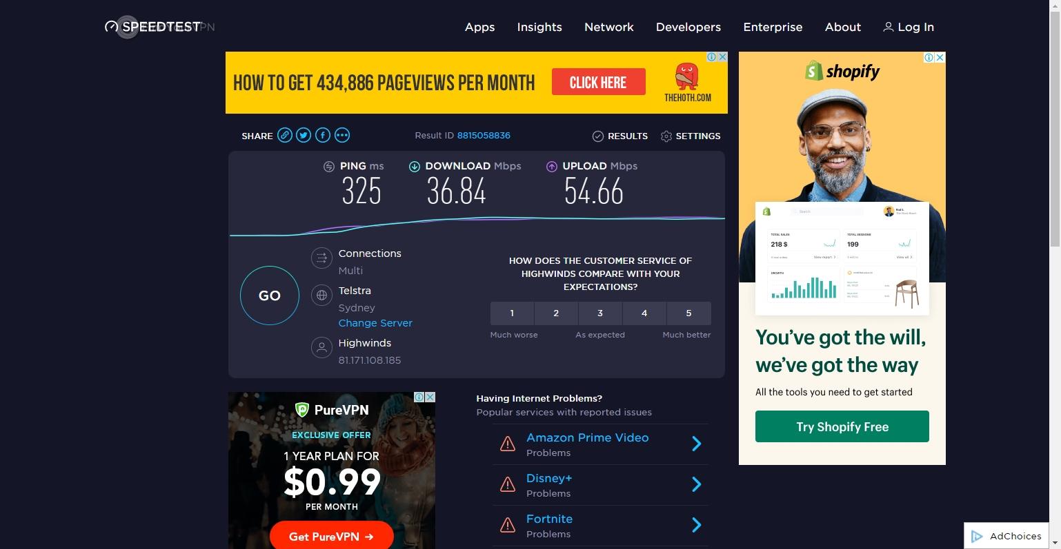IPVanish's Australia speed test