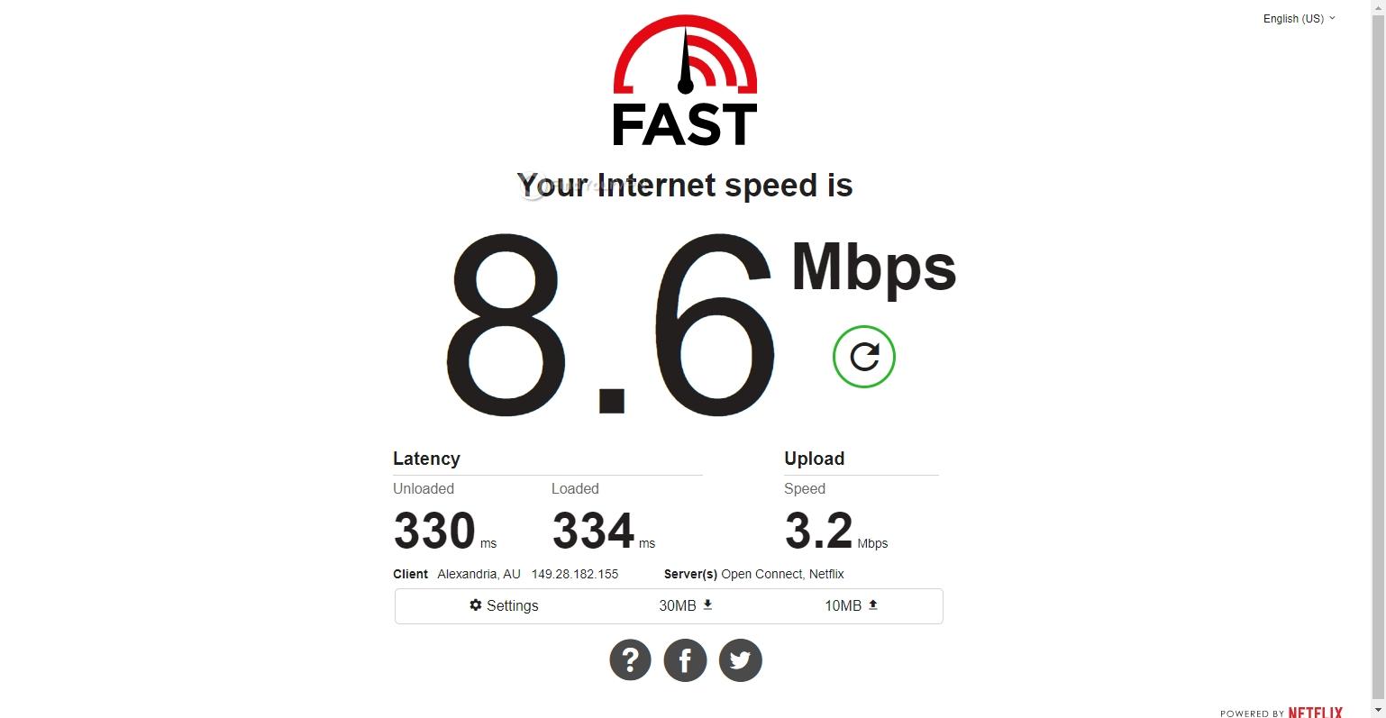 TunnelBear speed test Australia
