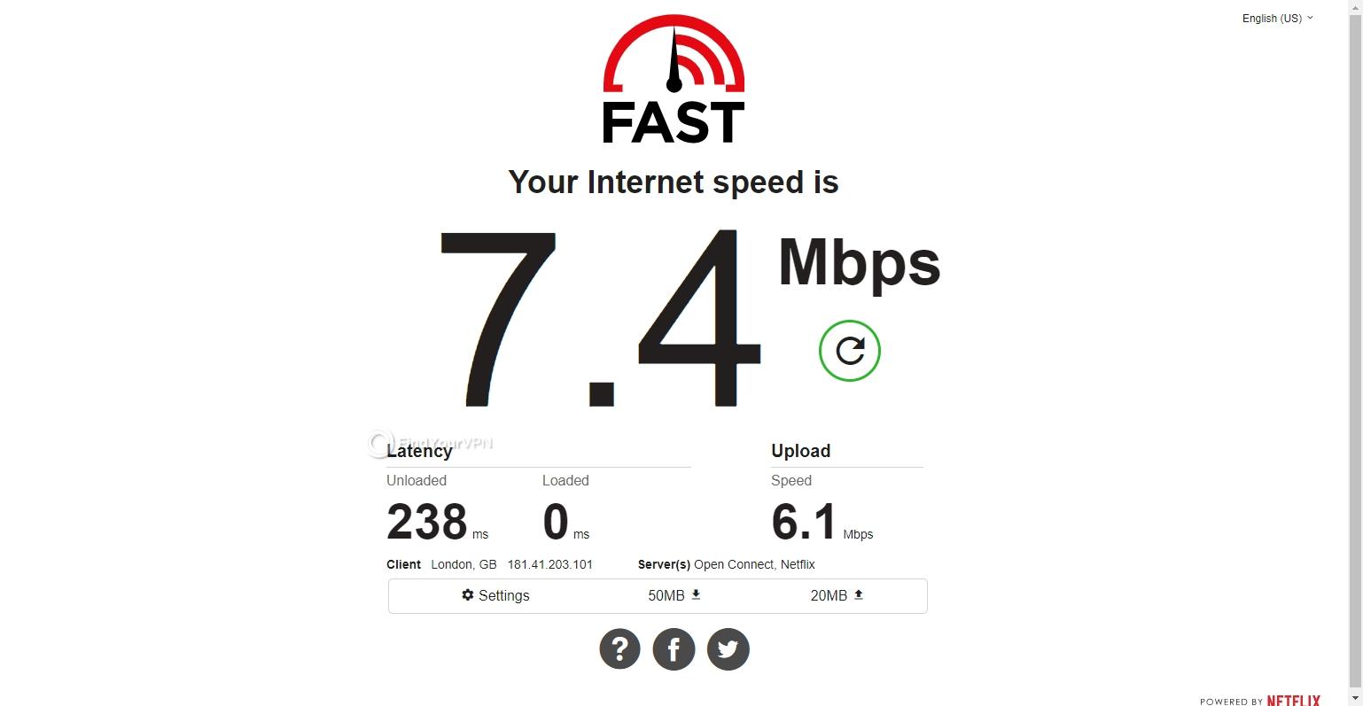Speed test CyberGhost VPN Brazil