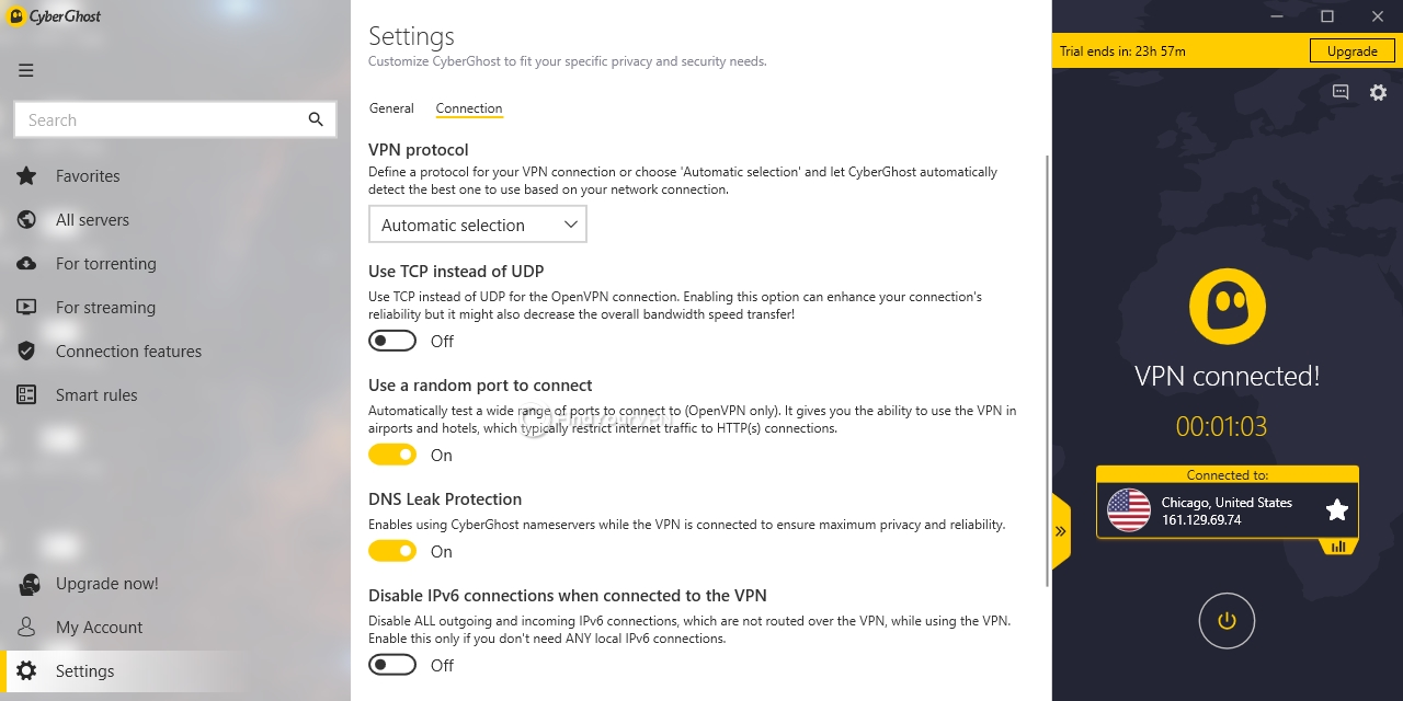 CyberGhost VPN's connection settings