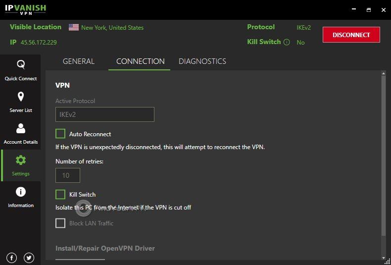 IPVanish's connection settings