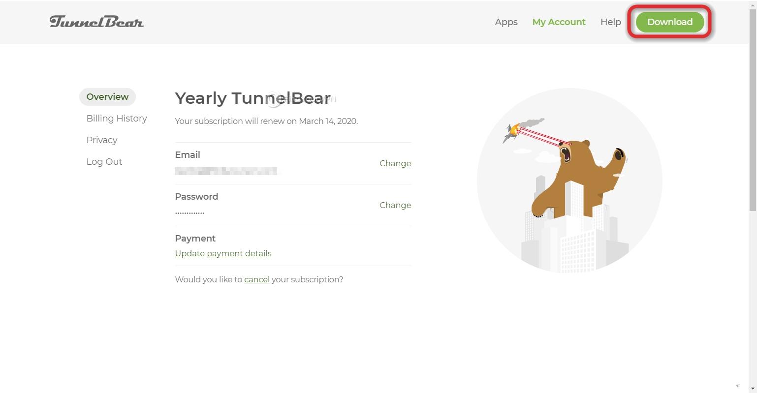 TunnelBear's dashboard