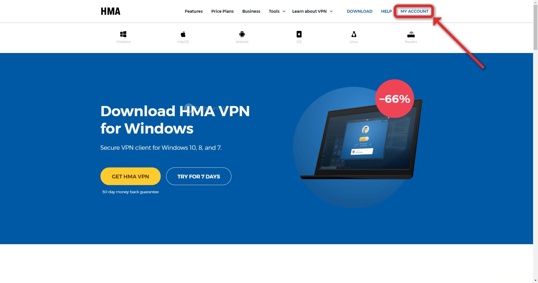 The first step to download HideMyAss! VPN