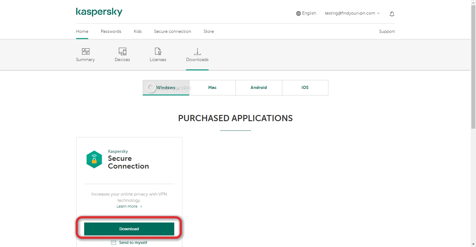 Kaspersky Secure Connection Windows download
