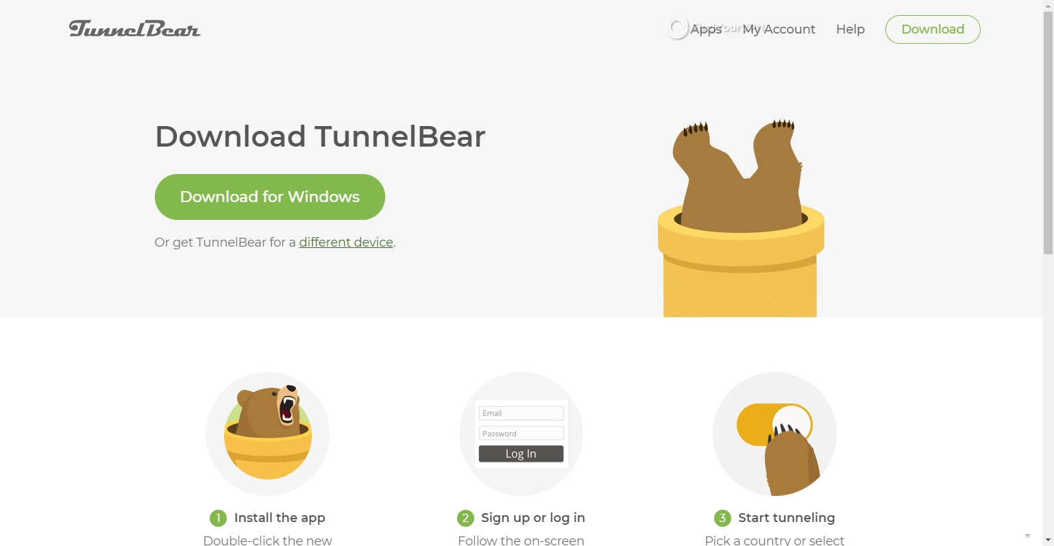 Downloading the Windows app for TunnelBear