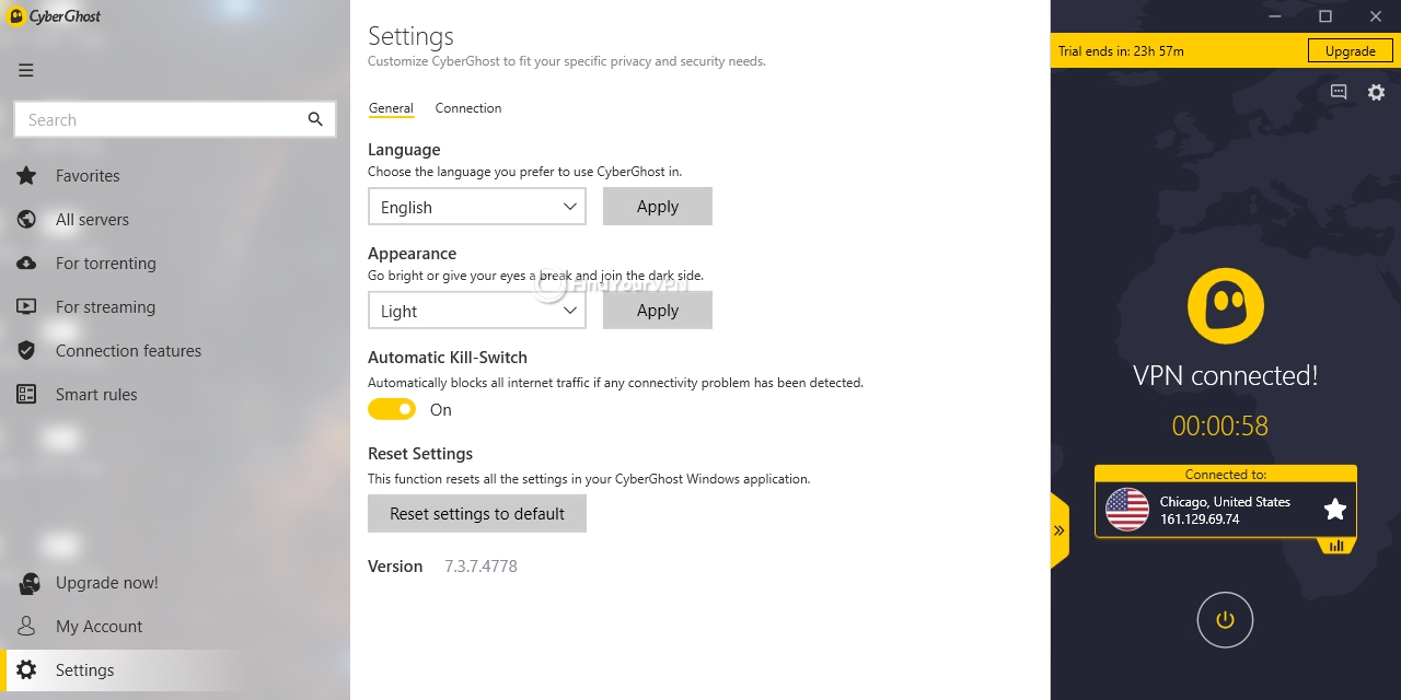 CyberGhost VPN's general settings