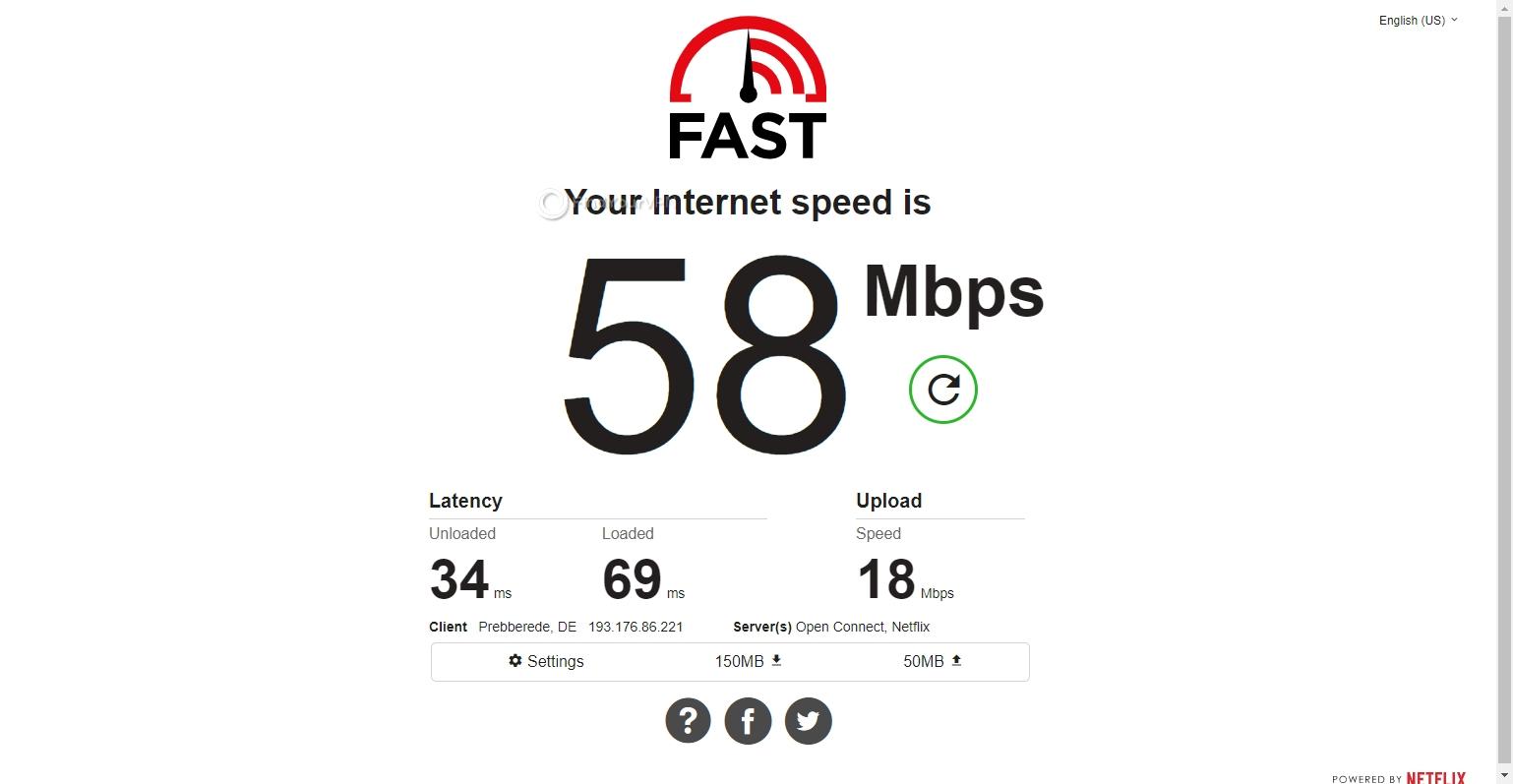 Speed test CyberGhost VPN Germany