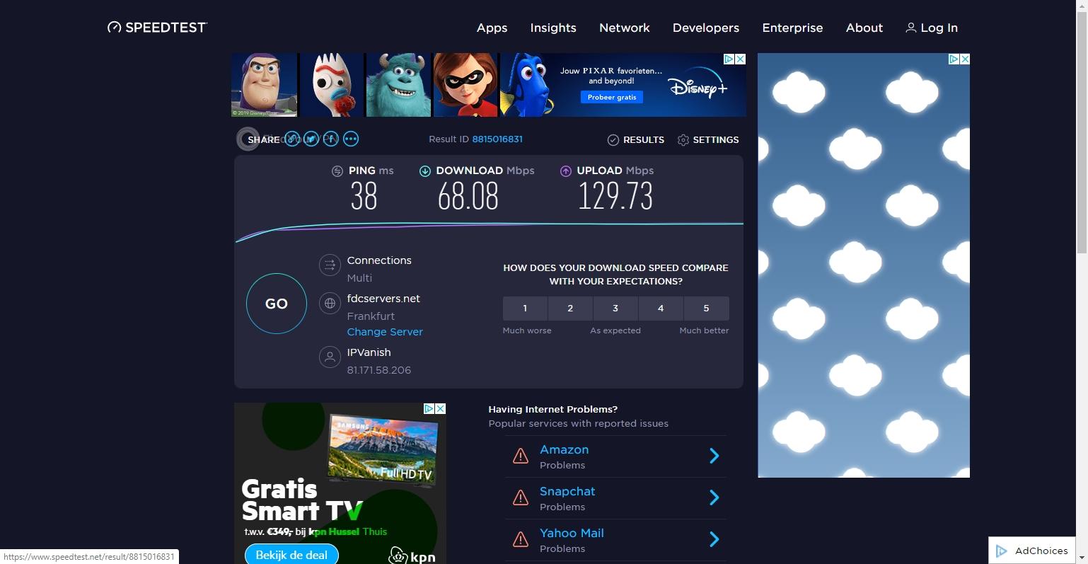 IPVanish's Germany server speed