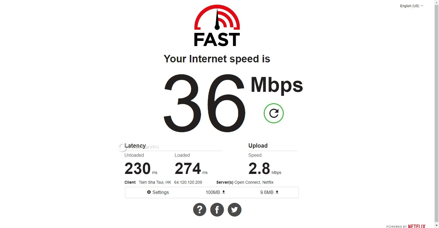 Speed test CyberGhost VPN Hong Kong