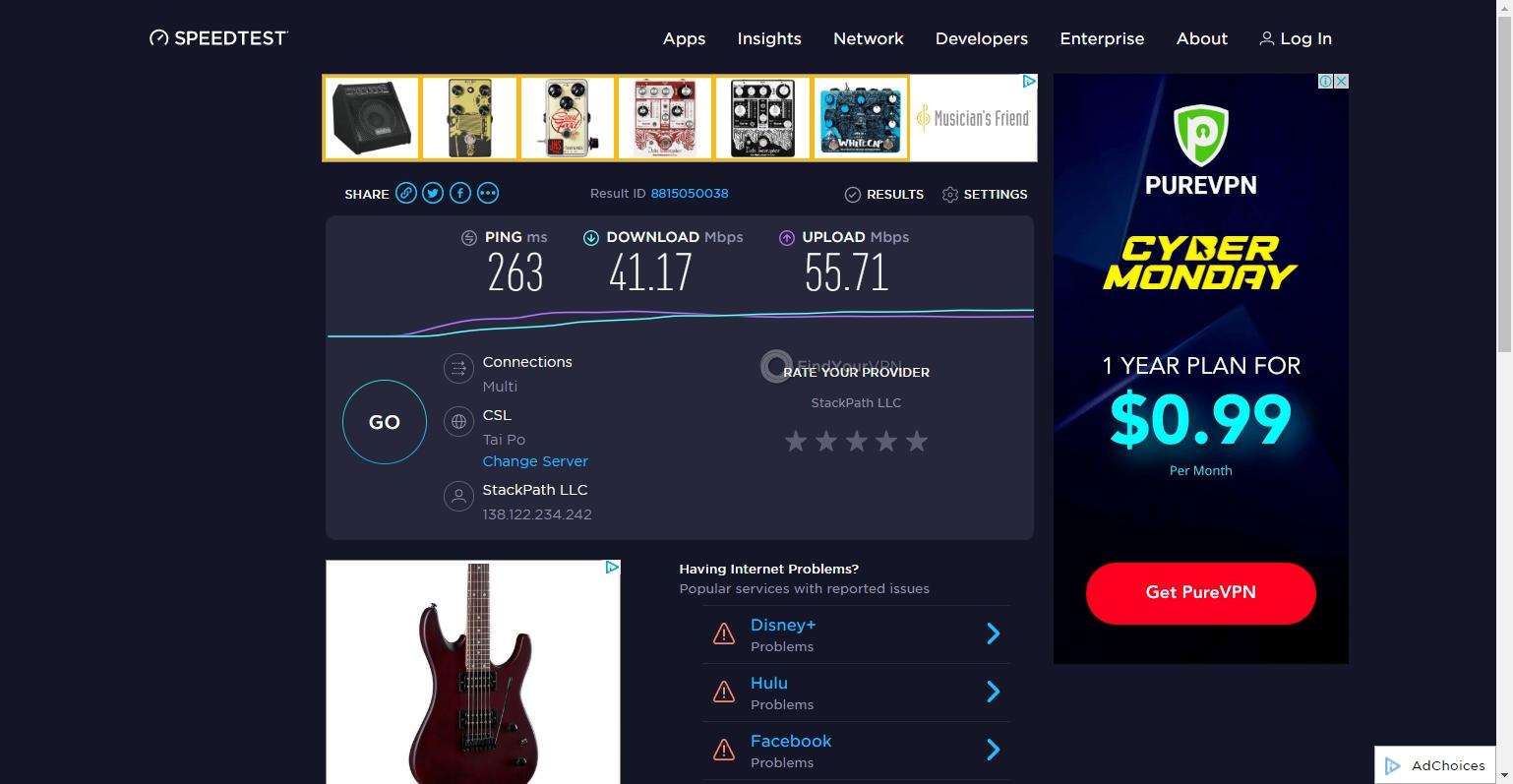 IPVanish's Hong Kong server speed