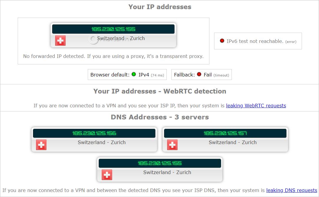 IPLeak.net shows test results