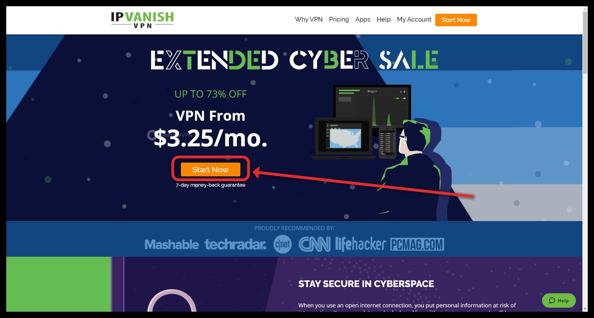 IPVanish's landing page