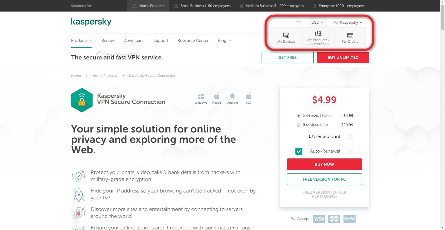 Kaspersky Secure Connection's My Kaspersky button
