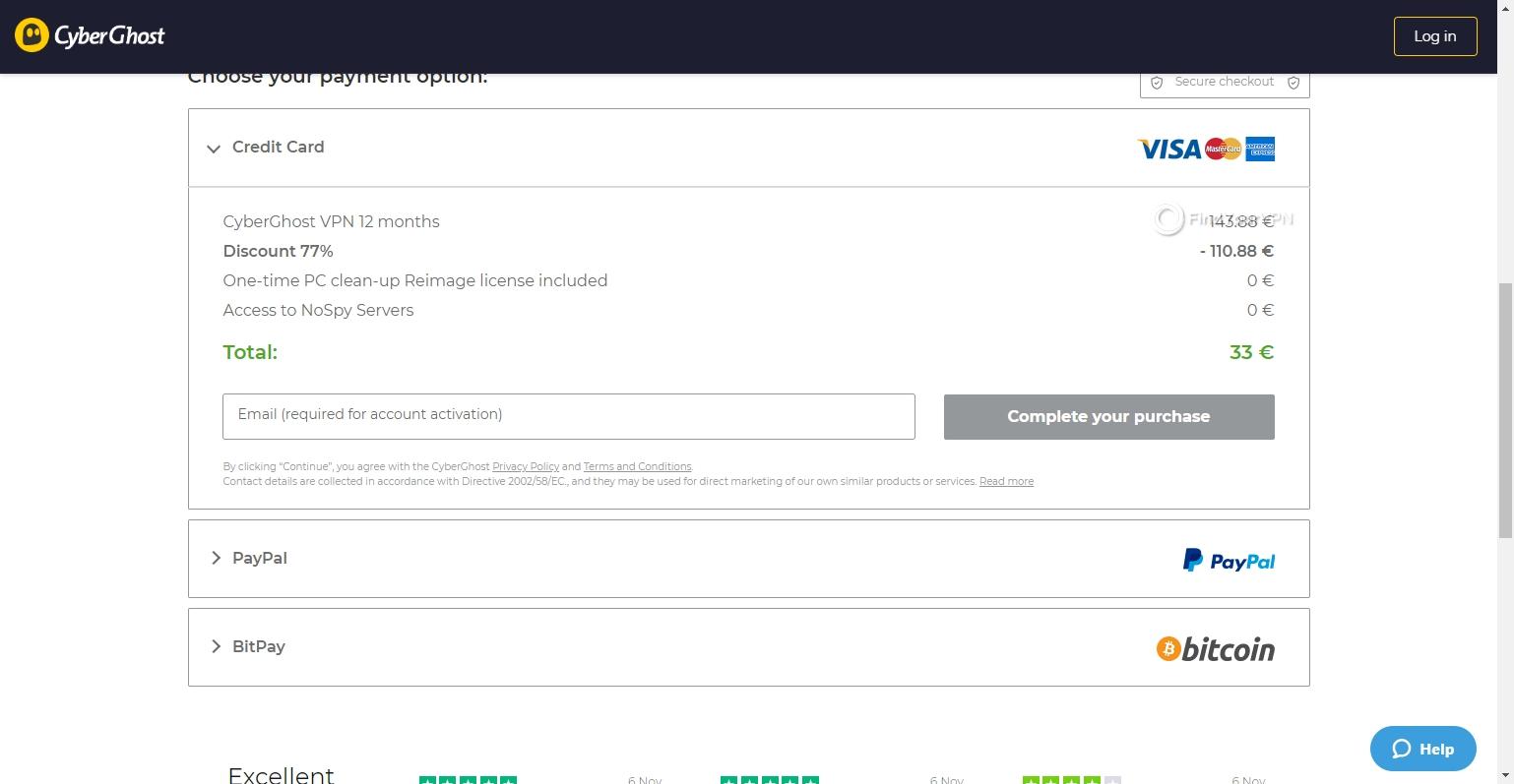 CyberGhost VPN payment methods