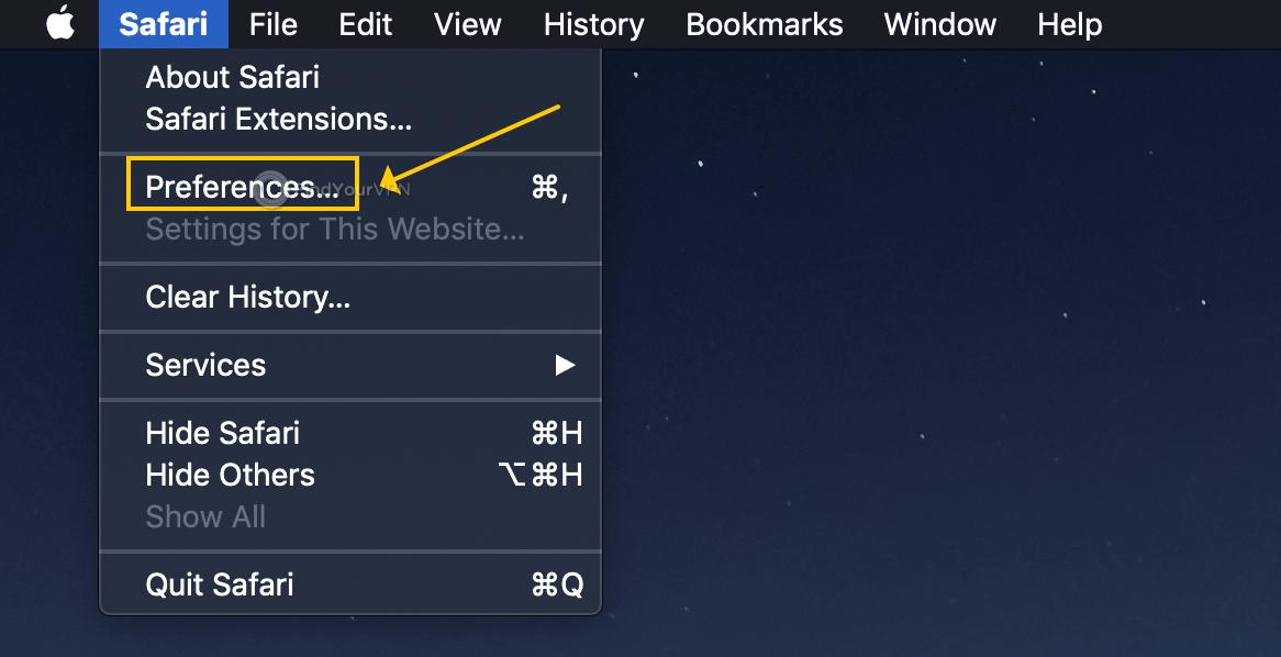 macOS shows the Safari menu bar