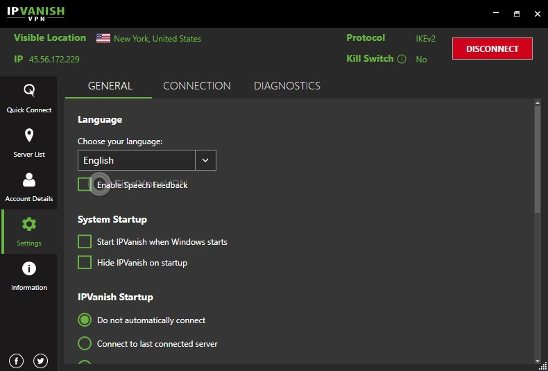 IPVanish's settings section