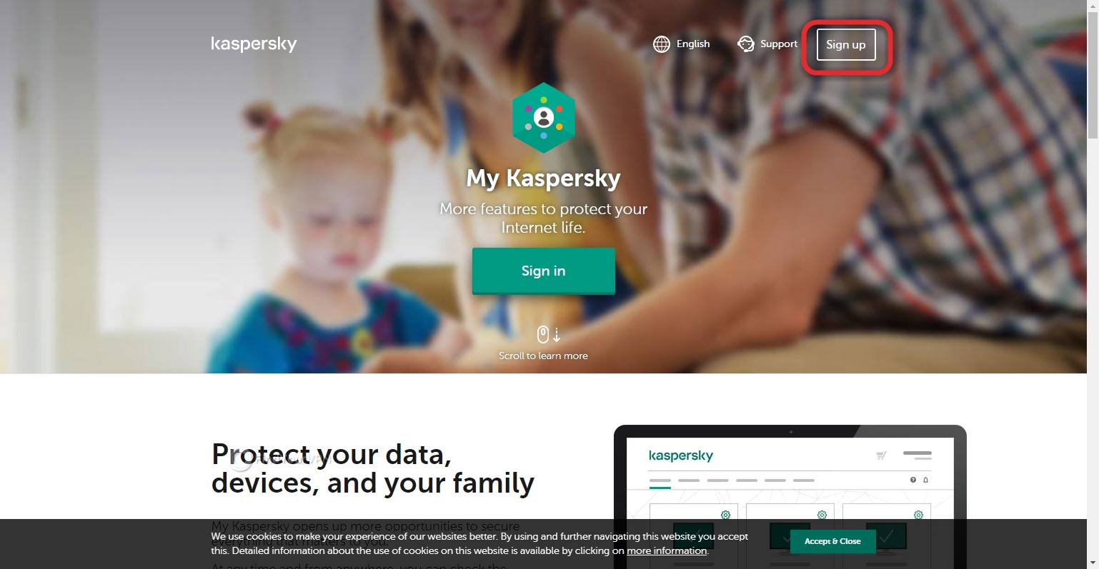 The sign up button of Kaspersky Secure Connection
