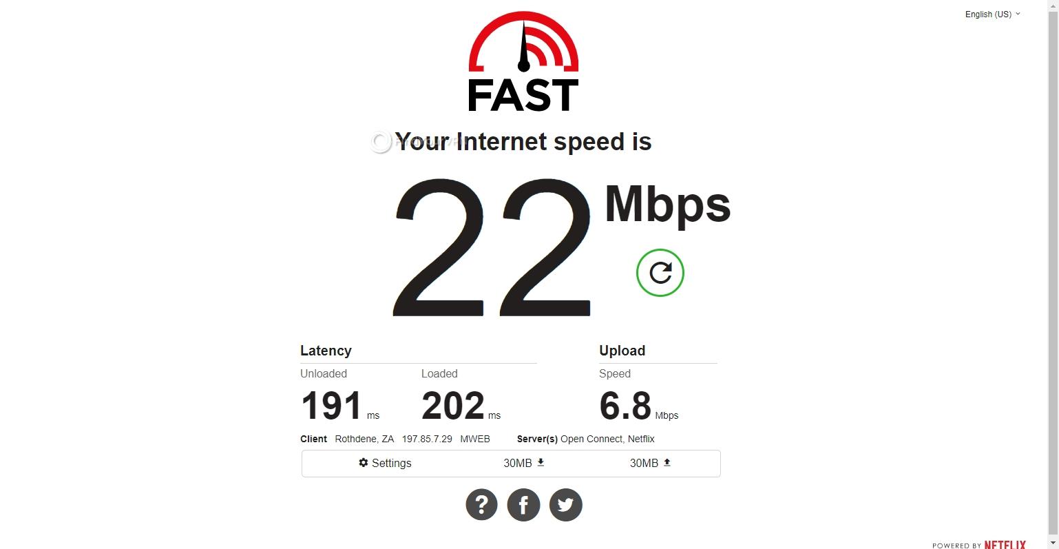 Speed test CyberGhost VPN South Africa