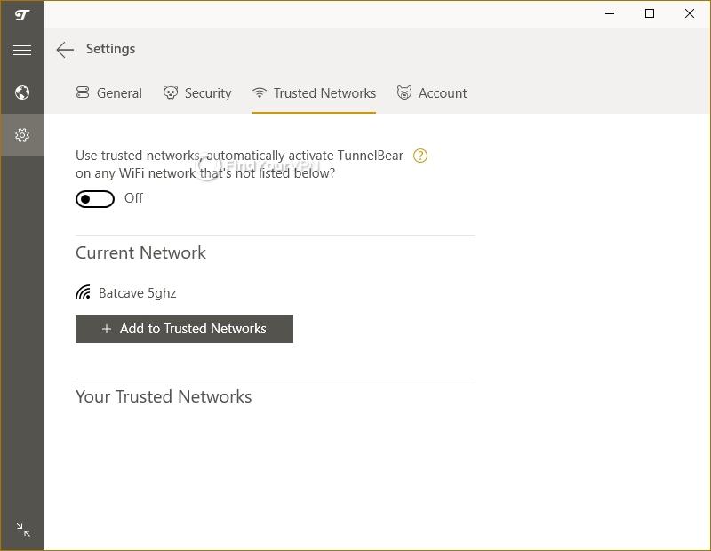 TunnelBear's trusted network settings