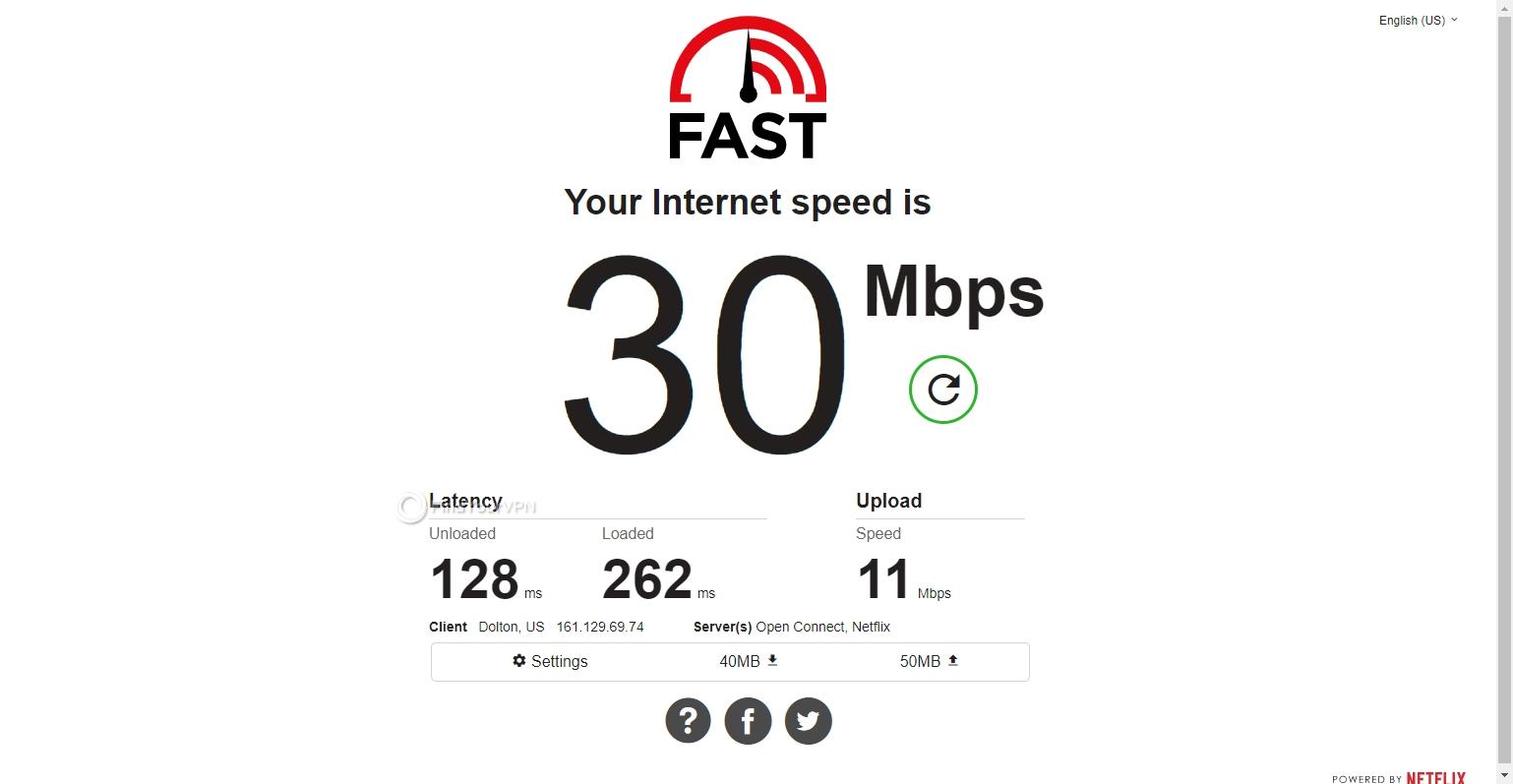 Speed test CyberGhost VPN USA