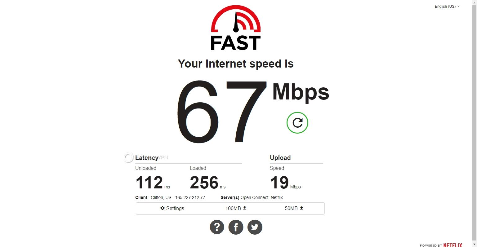 TunnelBear USA speed test