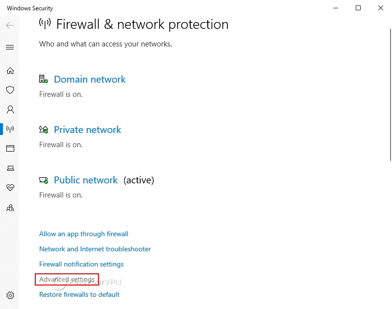 Windows 10 shows the firewall and network protection module