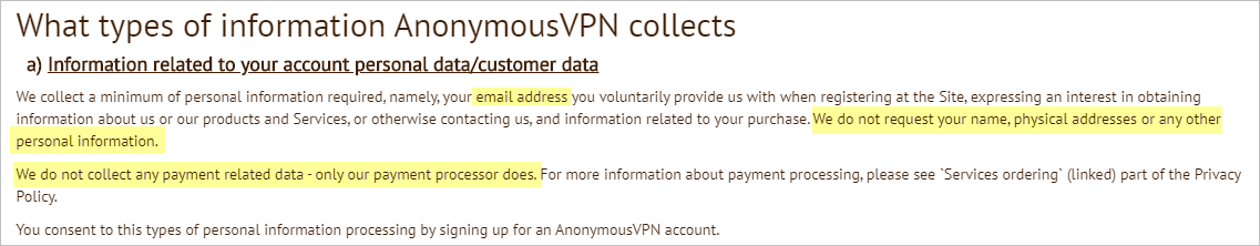 AnonymousVPN privacy policy with collected data